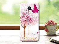 Оригинальный чехол панель накладка для Meizu M5 с картинкой розовое дерево