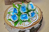 Цветы Розы (цена за букет из 6 шт). Цвет - голубой, белый