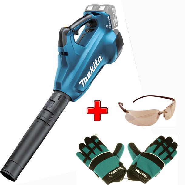 Аккумуляторная воздуходувка Makita DUB 362 Z + защитные перчатки и очки, DUB362Z988000708P-66329