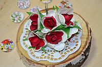 Цветы Розы (цена за букет из 6 шт). Цвет - красный, белый