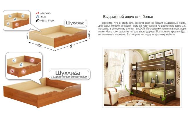 Кровать двухъярусная Дуэт (Выдвижные ящики для белья)