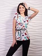 Блуза женская креп-шифон с рисунком p.42-48 VM1888-3
