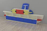 Детская стенка для игрушек Пароход 4200*400*1800h
