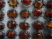 Кольцо  под серебро с кабашонами сердолик овал
