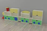 Мебель для детского сада стенка Локоматив 4100*400*1250h
