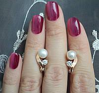 НАБОР серебряные серьги 925 пробы и кольцо с золотыми пластинами 375 пробы,вставками,накладками ЗОЛОТА НЕНСИ