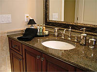Столешница для ванной из акрилового камня с умывальником