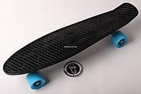Penny board Черная доска на голубых колесах