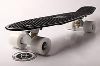 Penny board Черная доска на белых колесах