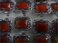 Кольцо  под серебро с кабашонами сердолик прямоугольник