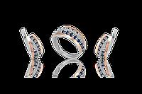 НАБОР серебряные серьги 925 пробы и кольцо с золотыми пластинами 375 пробы,вставками,накладками ЗОЛОТА соната