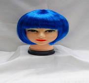 Синий  парик каре в интернет магазине