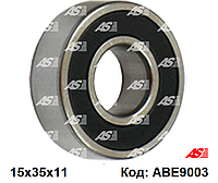 Подшипник генератора Ford Connect 1.8 TDCi (02-**). Форд Коннект. 15*35*11 мм. ABE9003 - AS Poland.