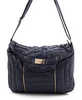 Вместительная мягкая прочная болоневая женская стеганая сумка  БН art. 17-17 синяя