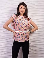 Блуза женская креп-шифон с воротничком рукав бабочка p.42-52 VM1058-1