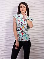 Блуза женская креп-шифон с воротничком рукав бабочка p.42-52 VM1058-2