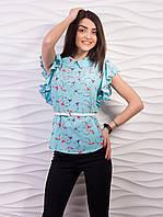 Блуза женская креп-шифон с воротничком рукав бабочка p.42-52 VM1058-4