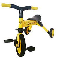 Складной трёхколёсный велосипед 2в1 желтый TCV (T701 Y)