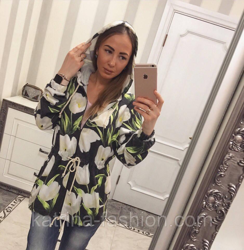 Женский модный кардиган-парка с цветами