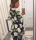 Женский модный кардиган-парка с цветами, фото 2