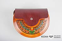 Сумка ручной работы, деревянная сумка, сумка из элементами кожи