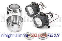 "Биксеноновые линзы Infolight Ultimate +50% LIGHT G5 2,5"" (⌀64мм) H1, маски стандарт, фото 1"