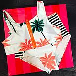 """Жіночий модний купальник із завищеними трусиками і топом """"Пальми"""", фото 2"""