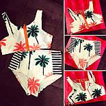 """Жіночий модний купальник із завищеними трусиками і топом """"Пальми"""", фото 3"""
