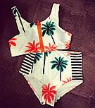 """Жіночий модний купальник із завищеними трусиками і топом """"Пальми"""", фото 4"""