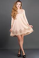 Воздушное платье Летисия р.44-52 бежевый