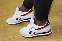 Женские кроссовки Reebok, пресс кожа + сетка, белые с красным / бег кроссовки женские Рибок, стильные