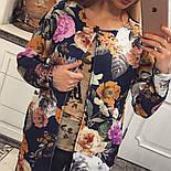 Женский стильный кардиган с цветочным принтом из неопрена, фото 2