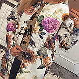 Женский стильный кардиган с цветочным принтом из неопрена, фото 3