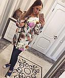 Женский стильный кардиган с цветочным принтом из неопрена, фото 4