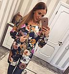 Женский стильный кардиган с цветочным принтом из неопрена, фото 6