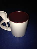 Чашка для сублимации 330мл с ложкой  (бордовая)