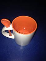 Чашка для сублимации 330мл с ложкой  (оранжевая))