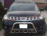 Защита переднего бампера кенгурятник с надписью  из нержавейки на Nissan Murano 2002-2008