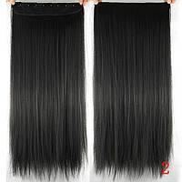 Накладная прядь волосы на заколках черный цвет
