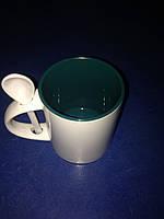 Чашка для сублимации 330мл с ложкой  (темно зеленый)