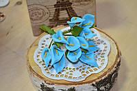 Цветы Каллы (цена за букет из 12 шт). Цвет - голубой, серединка - желтая