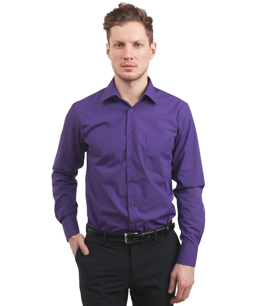 Фиолетовая однотонная мужская рубашка Leonardo Savelli 12593