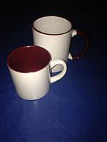 Чашка для сублимации детская (кофейная) цветная внутри 250 мл d70 (бордовый)