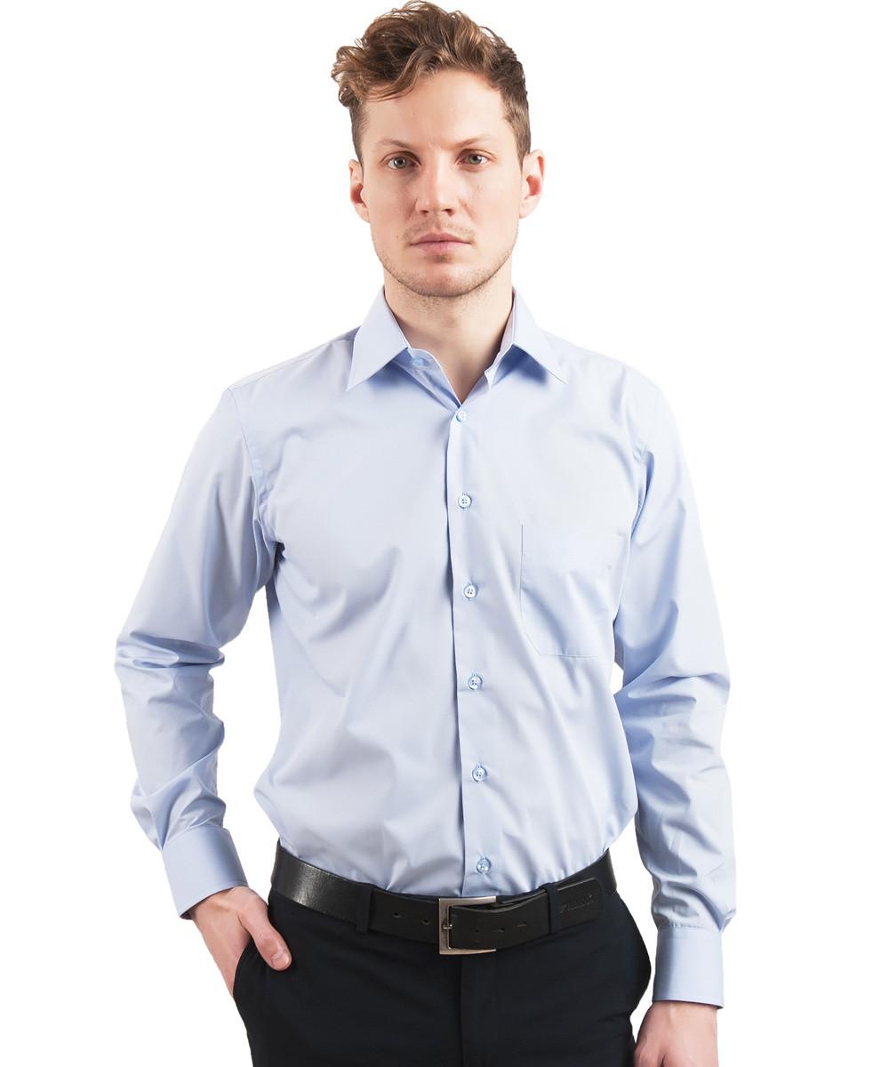 Голубая однотонная мужская рубашка Leonardo Savelli 13337