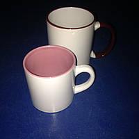 Чашка для сублимации детская (кофейная) цветная внутри 250 мл d70 (розовая))