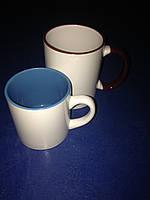 Чашка для сублимации детская (кофейная) цветная внутри 250 мл d70 (голубая))