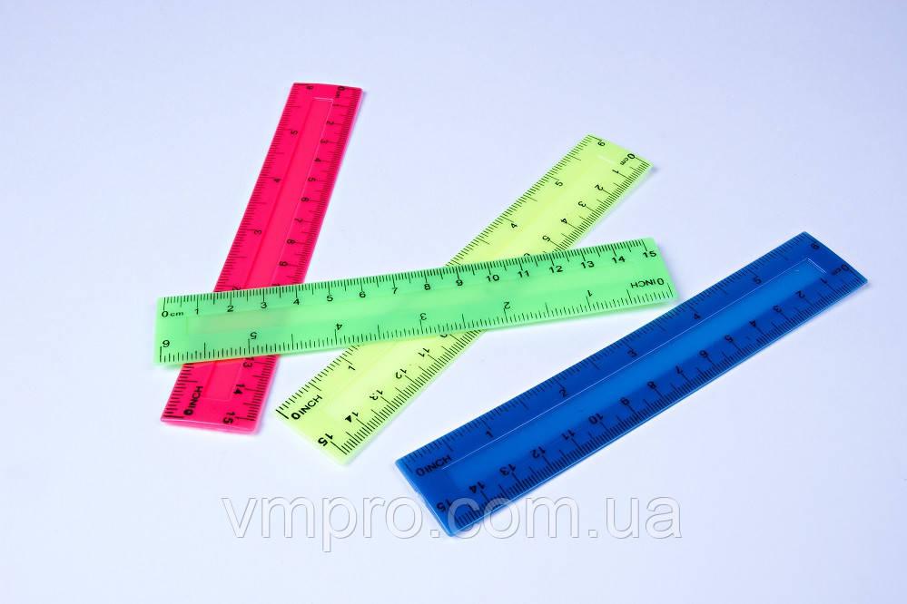 """Лінійки кольорові пластикові """"Неон"""", 15 см, №1115"""