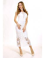 Коктейльное платье длины миди из гипюра