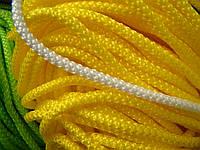"""Шнур текстильный, диаметр 5 мм, с наполнителем, жёлтый """"яичный""""."""