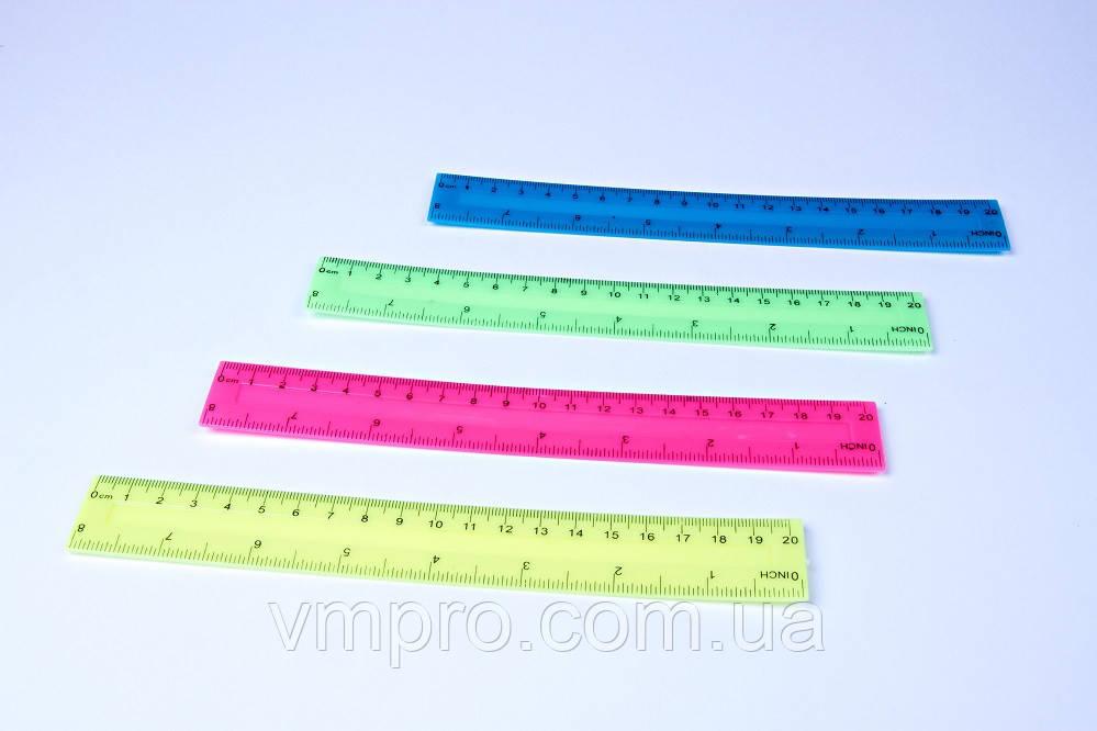 """Линейки цветные пластиковые """"Неон"""", 20 см, №1120"""
